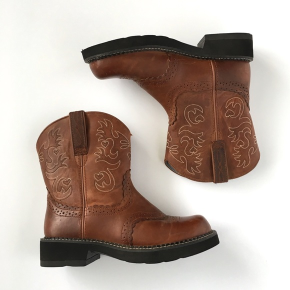 3f1653f8e9597 Ariat Fat Baby Brown Leather Cowboy Boots 8 B